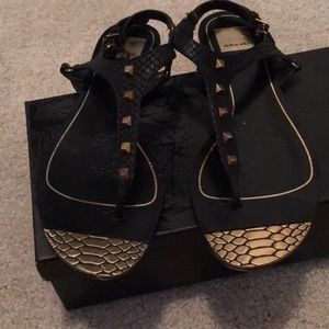 Dolce Vita black and gold sandals